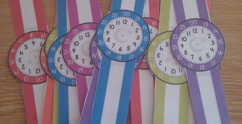 12-24 Saat Dönüşümü Öğretimi İçin Kol Saatleri