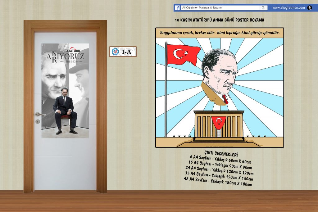 10 Kasim Ataturk U Anma Gunu Poster Boyama Ali Ogretmen Materyal